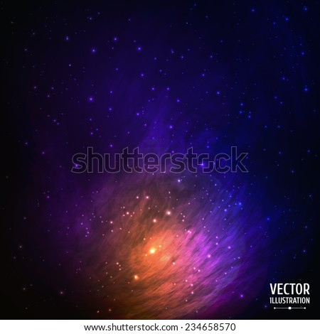 Colorful Space Galaxy Background with Light, Shining Stars, Stardust and Nebula. Vector Illustration for artwork, party flyers, posters, banners. - stock vector