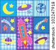 Colorful Space patchwork.Seamless baby background - stock vector