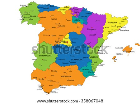 Colorful Spain political map with clearly labeled, separated layers. Vector illustration.
