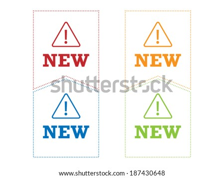 Colorful spectrum geometric new ribbon sign object vector graphic illustration template isolated on white background - stock vector