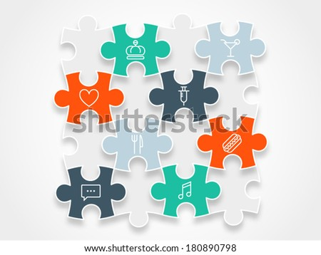 Colorful spectrum rainbow puzzle pieces forming a circle vector illustration graphic isolated on background