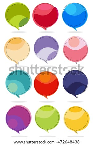 colorful speech balloons set
