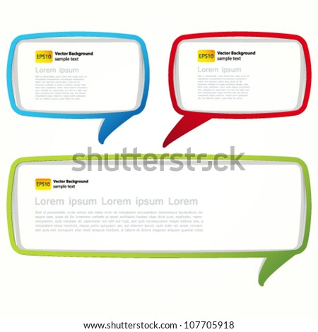 Colorful speech bubble frames. Labels in the form of an empty frame for your text.