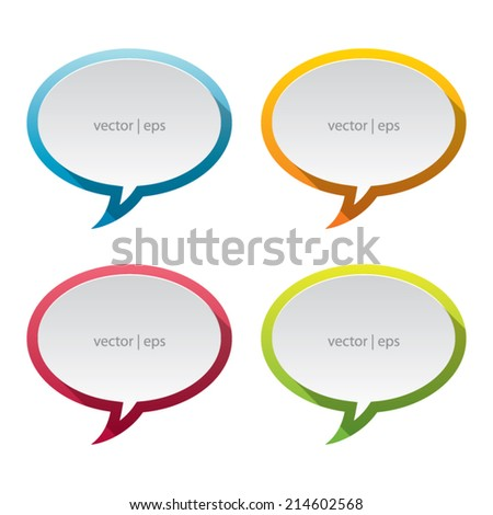 Colorful Speech Bubble Labels With Long Shadow - stock vector