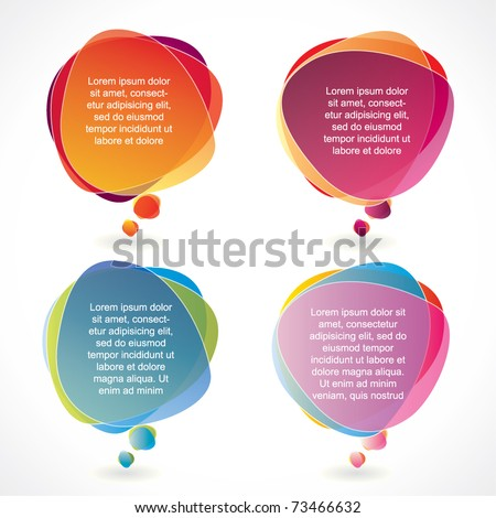 Colorful speech bubble set with transparency - stock vector
