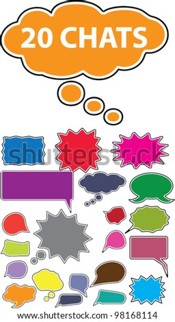 colorful speech bubbles and dialog balloons icons, set - stock vector