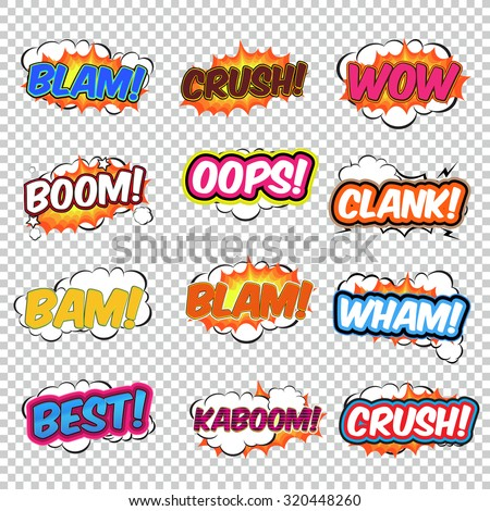 Colorful speech bubbles and explosions in pop art style. Elements of design comic. Blam, crush, wow, boom, oops, clank, bam, blam, wham, best, kaboom from different comic fonts. - stock vector