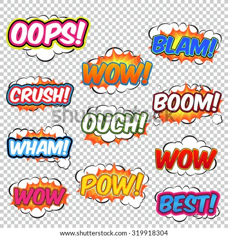 Colorful speech bubbles and explosions in pop art style. Elements of design comic. Snap, cool, crush, wow, oops, clank, blam, wham from different comic fonts. - stock vector