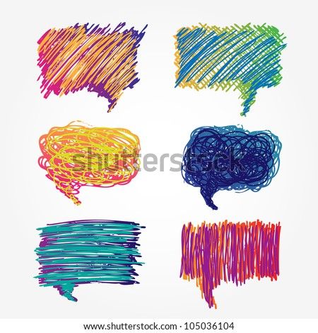 Colorful speech bubbles set. Hand drawn sketch illustration isolated on white background - stock vector