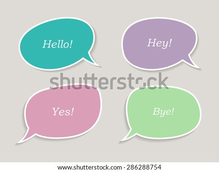 Colorful speech bubbles.Speech bubbles with messages.Abstract vector illustration.