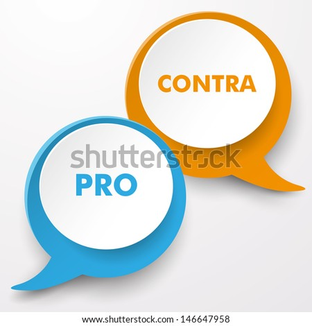 Colorful speech bubbles with text Pro and Contra. Eps 10 vector file. - stock vector
