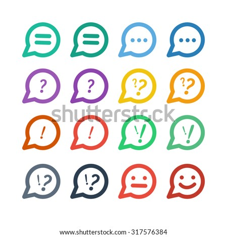 Colorful speech icons - stock vector