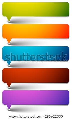 Colorful speech, talk bubble graphics. Set of empty speech bubbles with rounded corners and empty space. - stock vector
