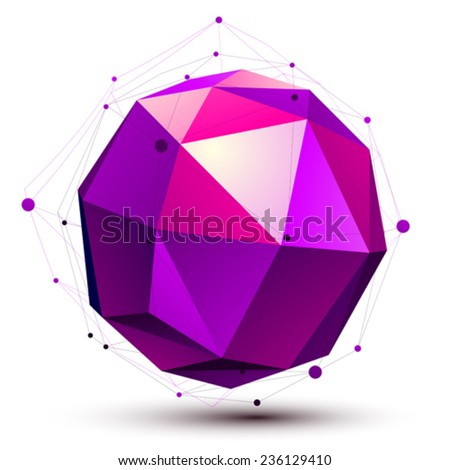 Colorful spherical 3D abstract object with connected lines and dots, magenta orbed lattice figure isolated on white background. - stock vector