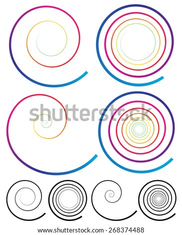 Colorful spiral elements with plain black version included - stock vector