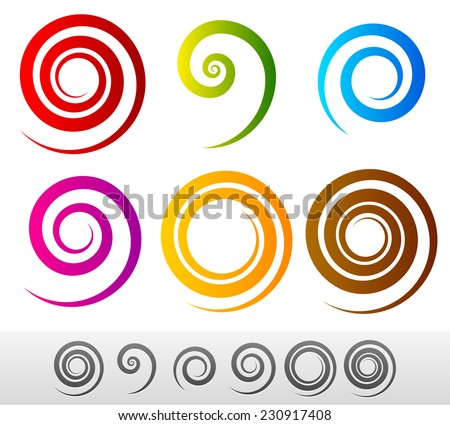 Colorful spirals - stock vector
