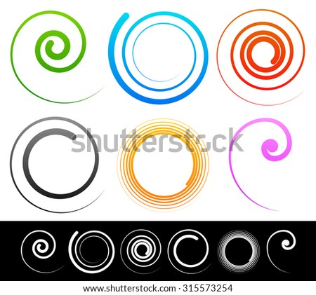 Colorful spirals, swirl, twirl shapes. White versions included. Vector illustration. - stock vector