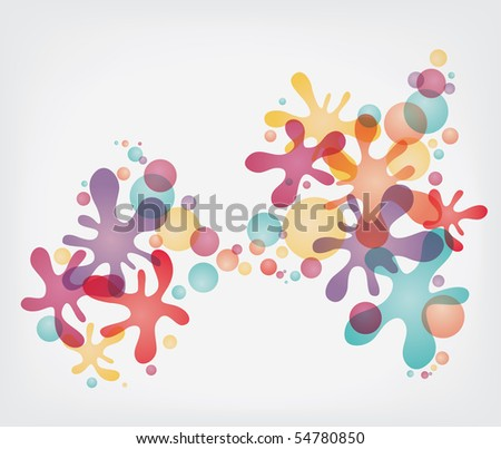 Colorful splash shapes and bubbles - stock vector