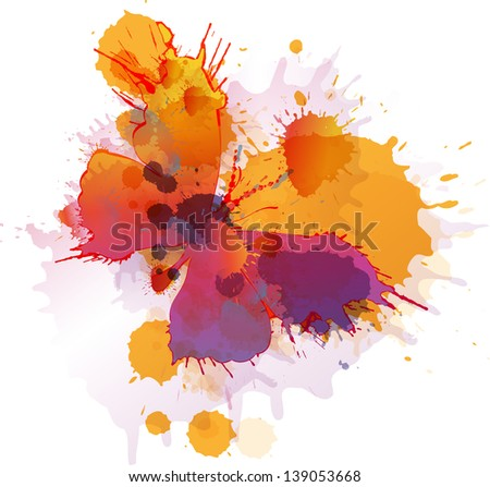 Colorful splashes butterfly on white background