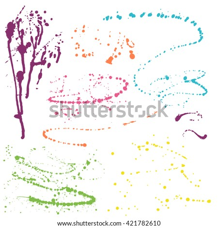 Colorful splatters - design elements on white background - stock vector