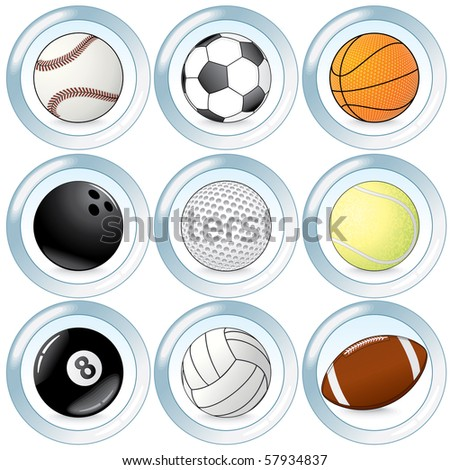 Colorful Sport balls buttons-vector icon set for leisure game design