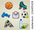 Colorful Sport Elements Set (basketball, rollerblade, weights, scale, football, tennis ball, sport shoes and a bottle of water). Vector illustration. Easy to edit. - stock vector