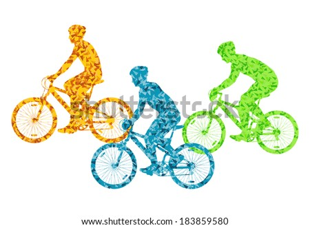 Colorful sport road bike rider bicycle silhouette background illustration vector concept - stock vector