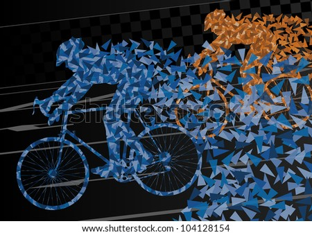 Colorful sport road bike riders bicycle silhouettes in urban city road background illustration vector - stock vector