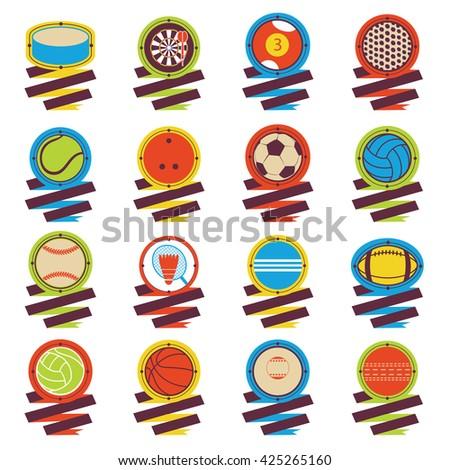 Colorful Sports Balls logo. Football, basketball, golf, volleyball, hockey, american football, tennis, billiard, baseball, bowling, cricket, croquet, badminton, darts, golf, ping pong - stock vector