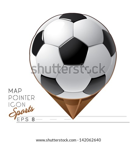 Colorful sports Map pointer icon. Soccer ball. Vector - stock vector