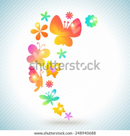 Colorful spring background design. Vector illustration for amasing surprise concept design. Abstract floral artistic element. Inspiration style. Pink, yellow, orange, blue, green and purple color. - stock vector