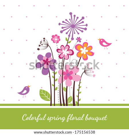 Colorful spring floral bouquet - stock vector
