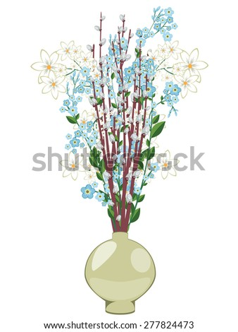 Colorful spring flowers in a decorative vase illustration.
