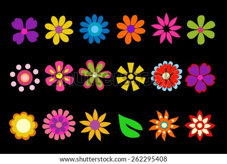 colorful spring flowers vector illustration - stock vector