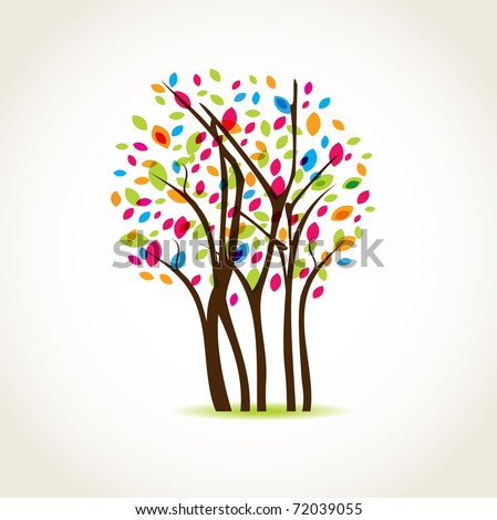 Colorful spring tree - stock vector