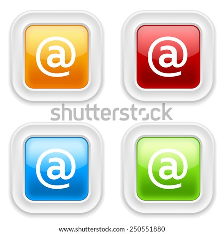 Colorful square buttons with at icon on white background - stock vector