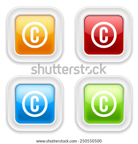 Colorful square buttons with copyright icon on white background - stock vector