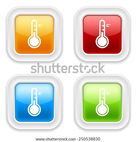 Colorful square buttons with thermometer icon on white background - stock vector