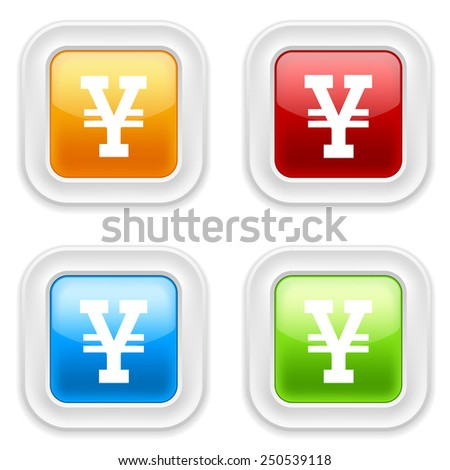 Colorful square buttons with yen sign on white background - stock vector
