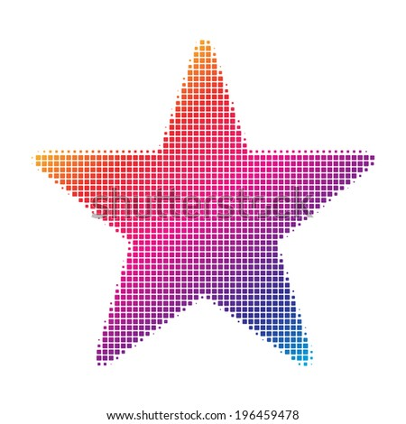 Colorful square raster dot pattern style star icon. Vector illustration