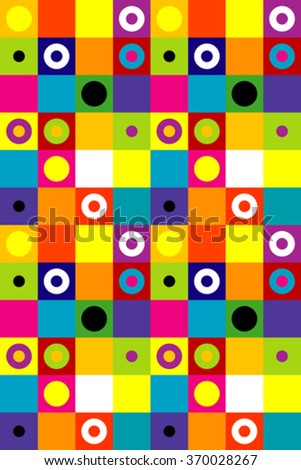 Colorful squares and dots background