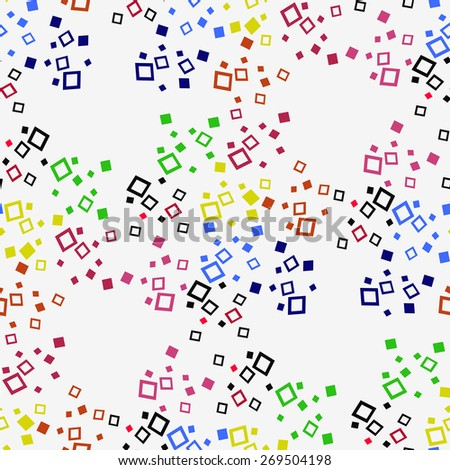 Colorful squares on a white background. Seamless.