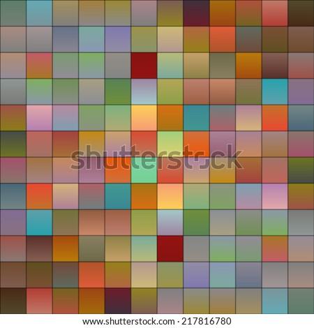 Colorful squares, pixels or mosaic tiles, gradient mid-tones colors - stock vector