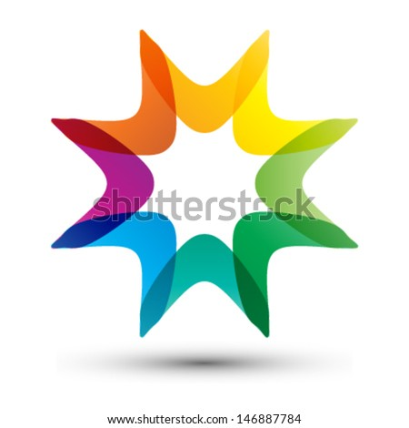 colorful star shape, business icon - stock vector