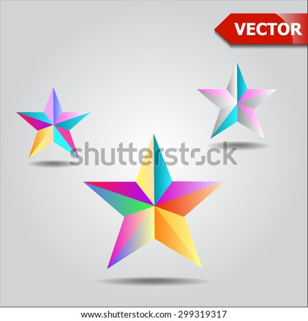 Colorful star shape in modern polygonal crystal style, Vector illustration for holiday patriotic design. For party poster, greeting card, banner or invitation.