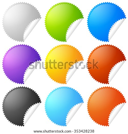 Colorful starburst, badge sticker shapes with blank space. - stock vector