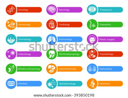 Colorful stickers for hospital with major medical specialties - stock vector