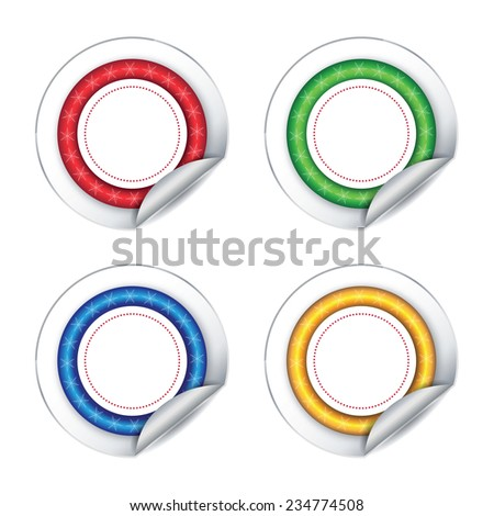Colorful stickers on white background. Vector illustration.  - stock vector