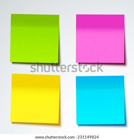 Colorful sticky note, vector illustration. - stock vector