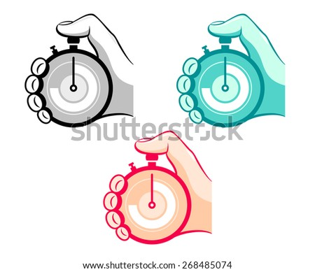 Colorful stopwatch in hand icons isolated - stock vector